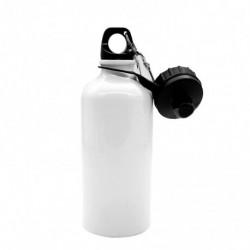 Borraccia con Doppio Tappo a Vite e Moschettone Sublimatica in Alluminio Bianco 500 ml.