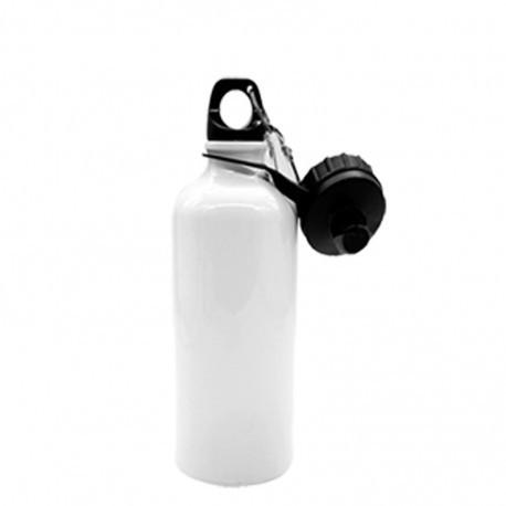 Borraccia con Doppio Tappo a vite e moschettone Sublimatica in Alluminio Bianco 750 ml.