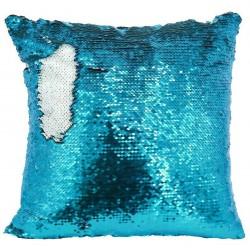 Federa Cuscino Paillettes Bianco-Azzurro